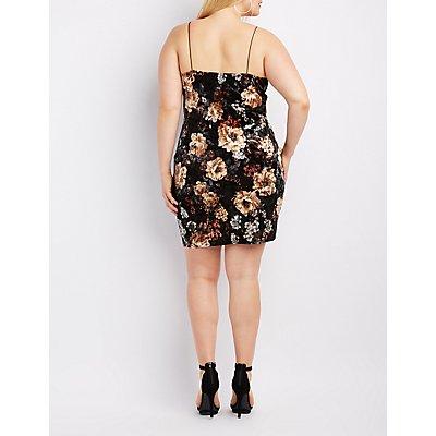 Plus Size Floral Velvet Slip Dress