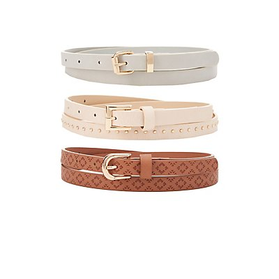 Plus Size Studded & Stamped Belts - 3 Pack
