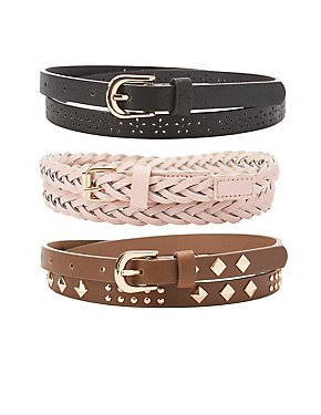 Plus Size Studded, Laser Cut & Braided Belts - 3 Pack