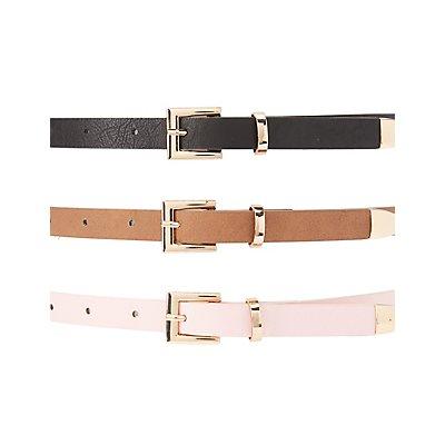 Plus Size Faux Leather Belts - 3 Pack