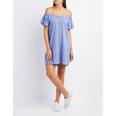 Printed Off-The-Shoulder Shift Dress