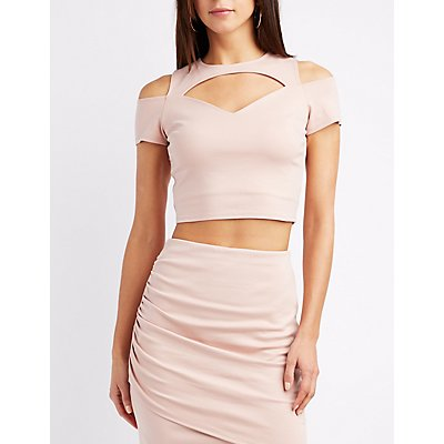 Cold Shoulder Cut-Out Crop Top
