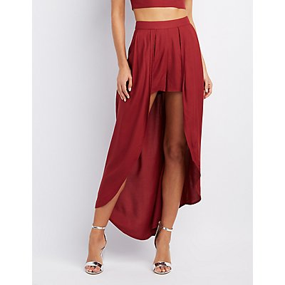 Layered Maxi Skirt Shorts   Charlotte Russe