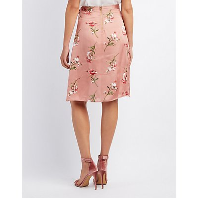 Floral Satin Wrap Skirt
