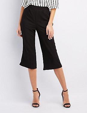 Pleated Wide-Leg Culottes