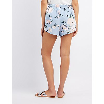 Floral Crochet-Trim Dolphin Shorts