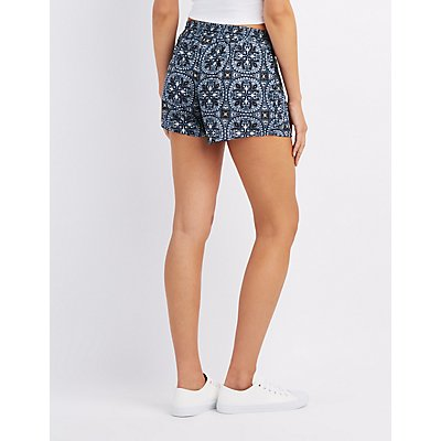 Medallion Print Drawstring Shorts