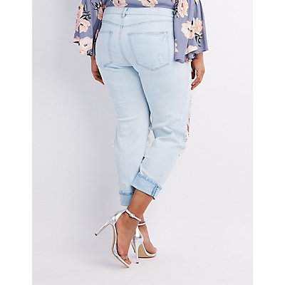 Plus Size Refuge Crop Boyfriend Destroyed Jeans