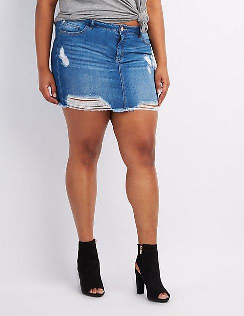 Plus Size Destroyed Denim Skirt | Charlotte Russe