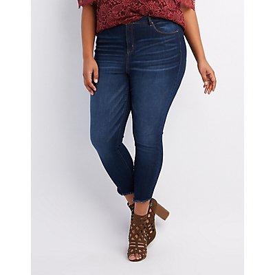 Plus Size Refuge Frayed Hem Skinny Jeans