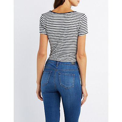 Striped Ringer Knotted Tee