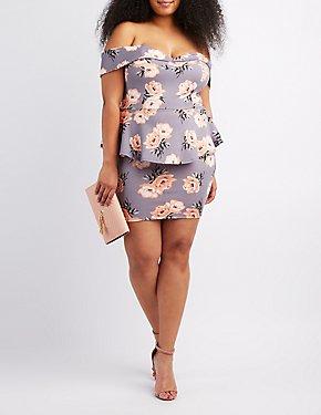Plus Size Floral Off-The-Shoulder Peplum Dress