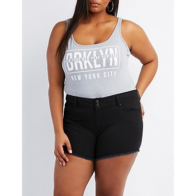 Plus Size New York Lattice-Back Bodysuit
