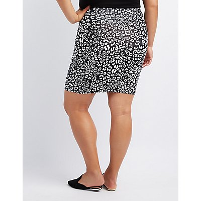 Plus Size Leopard Bodycon Mini Skirt