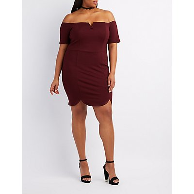 Plus Size Off-The-Shoulder Scalloped Bodycon Dress