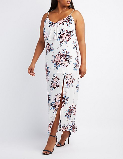 Plus Size Floral Ruffle-Trim Maxi Dress | Charlotte Russe