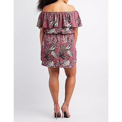Plus Size Floral Off-The-Shoulder Dress