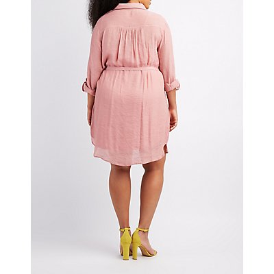 Plus Size Gauze Button-Up Shirt Dress