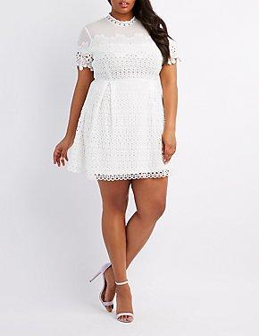 Plus Size Crochet & Mesh Trim Skater Dress