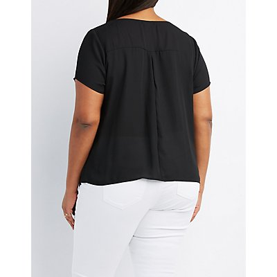 Plus Size Strappy Caged Blouse