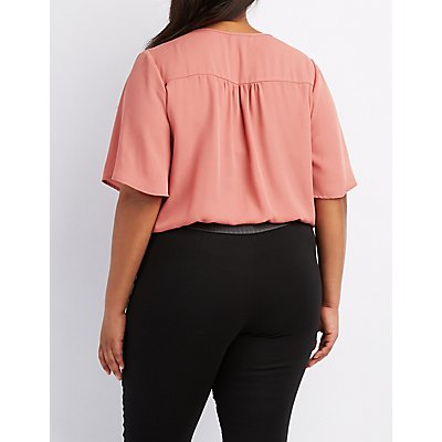 Plus Size Strappy Lattice-Front Blouse
