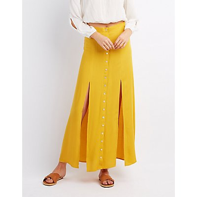 Double Slit Button-Up Maxi Skirt