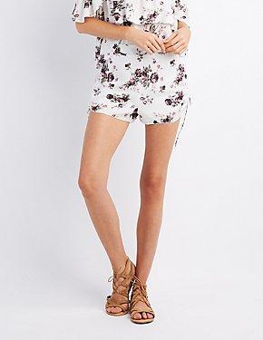 Floral Ruched Drawstring Shorts
