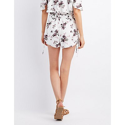 Floral Ruched Drawstring Shorts