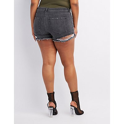Plus Size Refuge Hi-Rise Cheeky Destroyed Denim Shorts