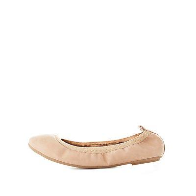Metallic-Trim Stretch Ballet Flats