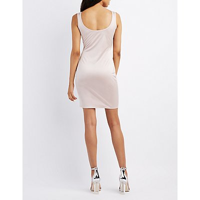 Satin Scoop Neck Bodycon Dress