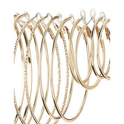 Smooth & Textured Hoop Earrings - 6 Pack