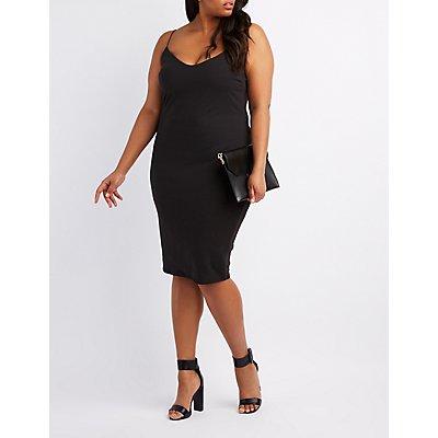 Plus Size Faux Suede Midi Slip Dress
