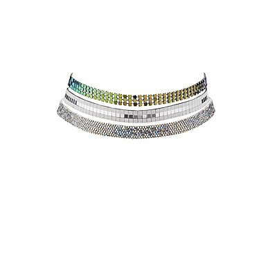 Iridescent Choker Necklaces - 3 Pack
