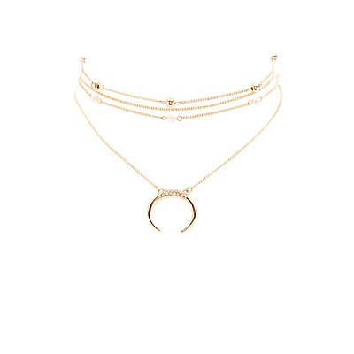 Crescent & Beaded Layered Choker Necklace