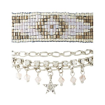 Embellished Beaded Layering Bracelets - 2 Pack