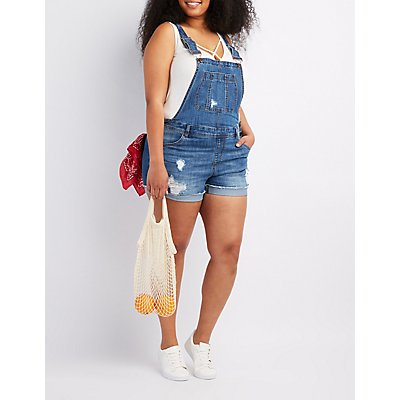 Plus Size Refuge Destroyed Denim Shortalls