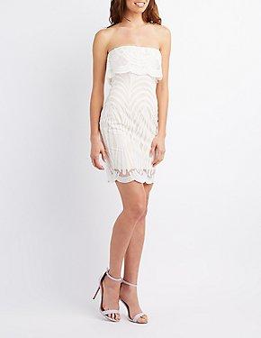 Crochet Ruffle-Trim Bodycon Dress