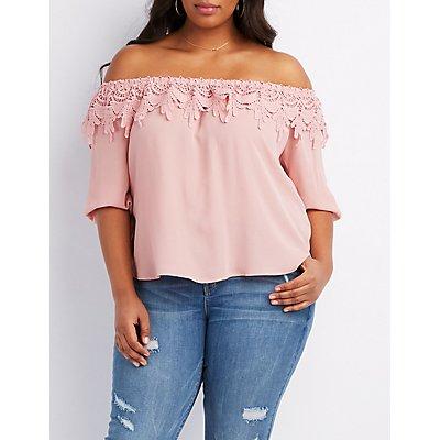 Plus Size Crochet Off-The-Shoulder Top