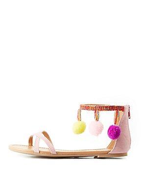 Pom Pom Two-Piece Sandals