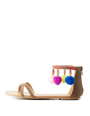 Pom Pom Two-Piece Sandals