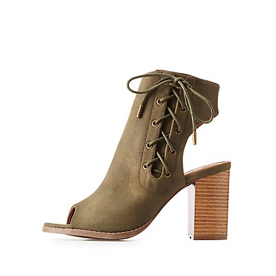 Lace-Up Slingback Booties