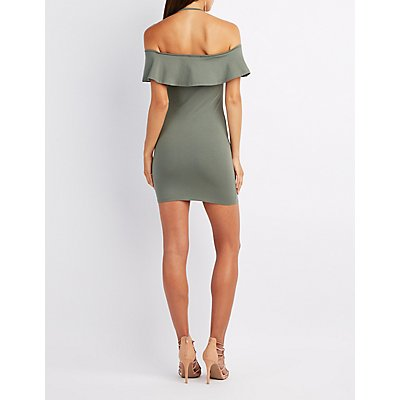 Halter Off-The-Shoulder Bodycon Dress