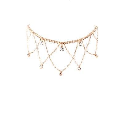Rhinestone Chandelier Choker Necklace