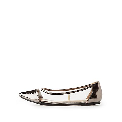 Clear & Metallic Pointed Toe Flats