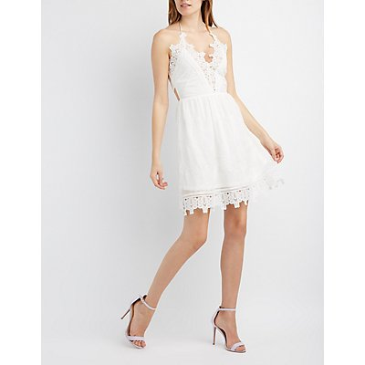Embroidered Crochet-Trim Halter Dress