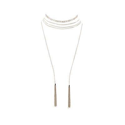Chainlink Bolero Choker Necklaces - 2 Pack