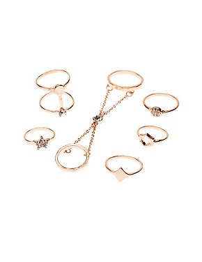 Embellished Stackable Star Rings - 6 Pack