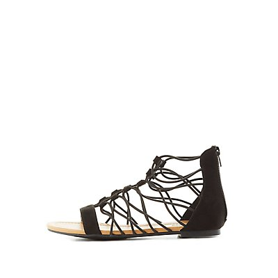 Strappy Elastic Gladiator Sandals