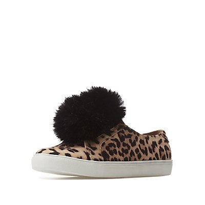 Leopard Pom Pom Slip-On Sneakers